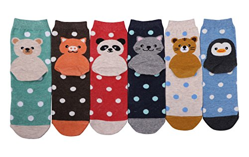 CozyWow Womens/Girls Fun Crazy Animation Print Crew Socks (4/5/6 Pack) 6Mixed4 (Woven Socks Kids)