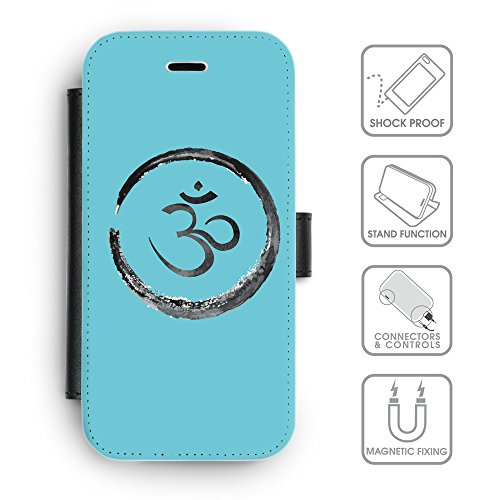 Flip PU Leather Wallet Case avec des fentes de carte de crédit // Q07660627 Bouddha 1 Cyan // apple iPhone 6s 2015