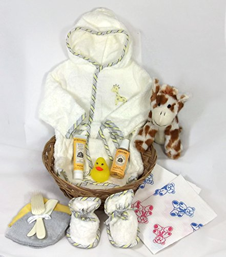 Sunshine Gift Baskets - 11 Piece Bath Time Gift Set - Baby Bath Robe and Slippers (Light Yellow) with Burt's Bees Shampoo and Lotion