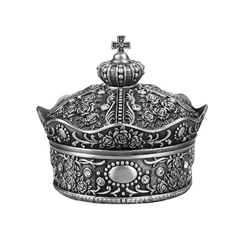 AVESON Creative Vintage Metal Alloy Crown Design Jewelry Box Ring Trinket Case Christmas Birthday Gift, Large -