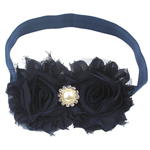 Miugle Baby Girls Headbands with Bows (navy blue)