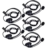 Retevis 2 Pin PTT Overhead Earpiece Headset Boom Speaker Microphone Noise Cancelling Headphone for BAOFENG UV5R 888S KENWOOD Retevis H-777/RT7 QUANSHENG PUXING WOUXUN HYT TYT TH 2 Way Radio (5 Pack)