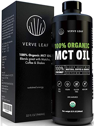 Verve Leaf - 100% Organic Virgin MCT Coconut Oil - Perfect Source of Sustained Energy from Fat and Gets You in The Ketosis Zone Fast - Boosts Cognitive Function, Mental Clarity and Focus - 32 oz