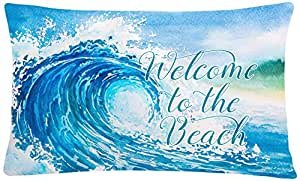 Caroline's Treasures BB8529PW1216 Wave Welcome Canvas Fabric Decorative Pillow, Multicolor