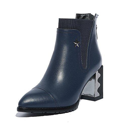 QIN QIN caviglia caviglia caviglia punta amp;X scarpe donne breve blocco del Blue stivali Le XOqrAP0wO