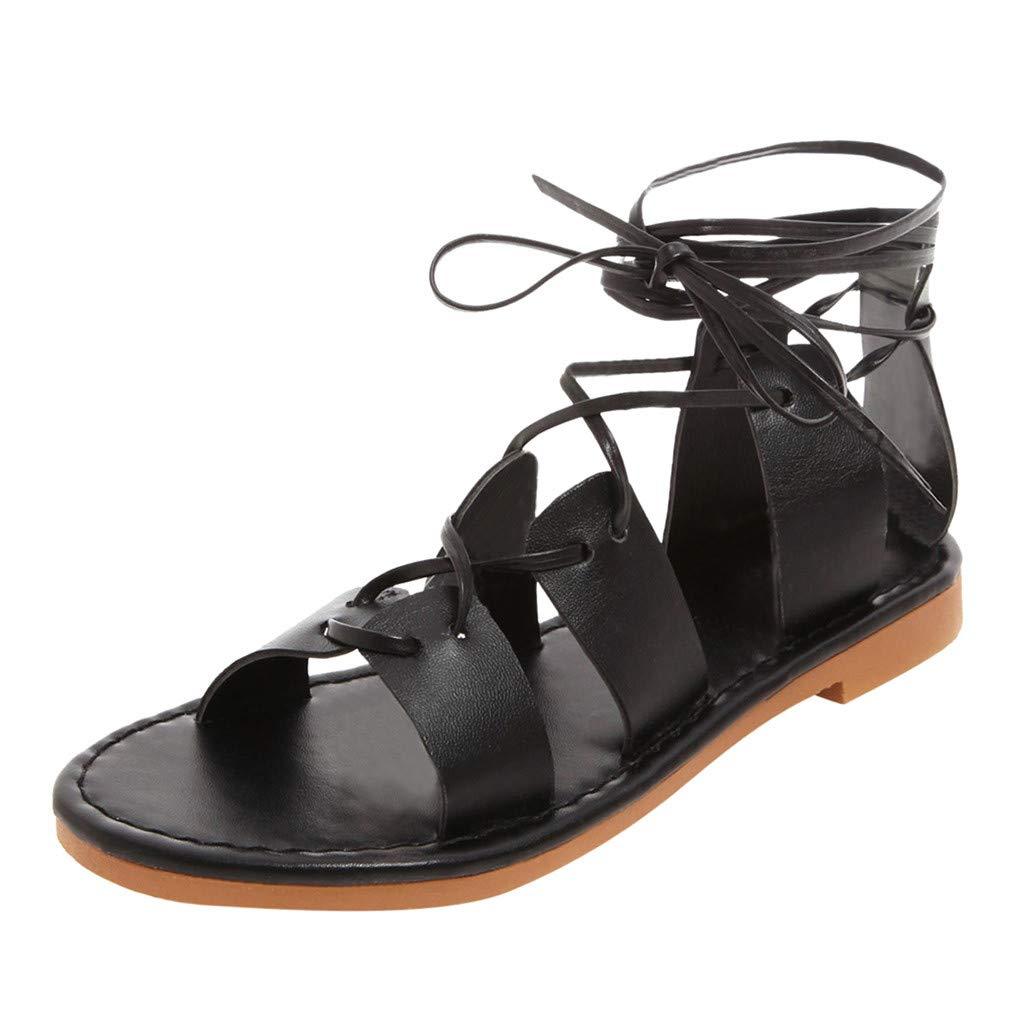 Hot 2019 Women Lace Up Sandal Open Toe Flat Shoes Ankle-Cross Summer Plus Size Beach Shoes US:5-9 (Black, 9)