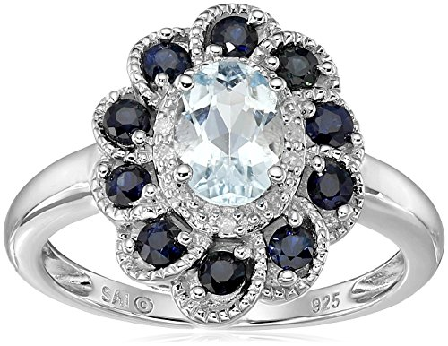 Sterling Silver Aquamarine, Blue Sapphire and Diamond Flower Ring, Size 7 (Seven Diamond Flower Ring)