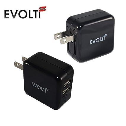 Amazon.com: Cargador de pared evolti22, Dual Port USB 2 x ...