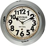 "Adeco ""Central Station, New York"" Gray Iron Retro Round Wall Hanging Clock with Large Numbers"