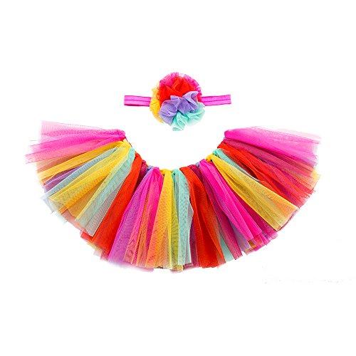 Sassy Jazz Dance Costumes - minihope Baby Girls' Tutu Skirt for Newborn Toddler Dress up with Headband,