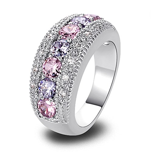 Emsione 925 Sterling Silver Plated Created Pink Topaz&Amethyst Womens - Hearts Sterling Ring Silver Plated