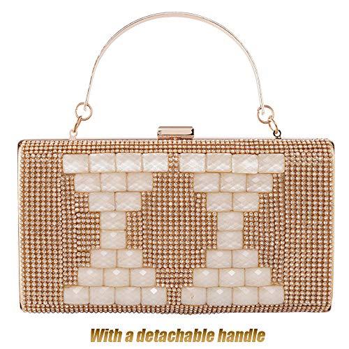 Rhinestone 2 Metal Clutch Party Evening Wedding Bags Gold Women Handbags Frame Paillette Shining FqwE6