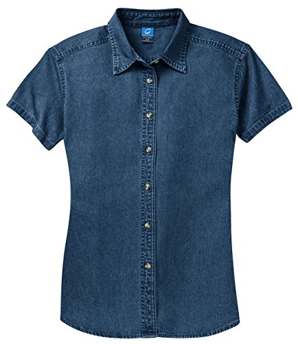 Port & Company Ladies Short Sleeve Value Denim Shirt>M Faded Blue LSP11