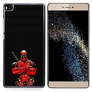 "Qstar Arte & diseño plástico duro Fundas Cover Cubre Hard Case Cover para Huawei Ascend P8 (Not for P8 Lite) (Ninja Warrior héroe"")"