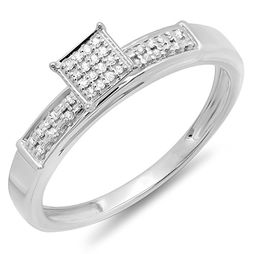 0.10 Carat (ctw) Sterling Silver Round Diamond Ladies Square Frame Micro Pave Promise Ring 1/10 CT (Size 7) ()