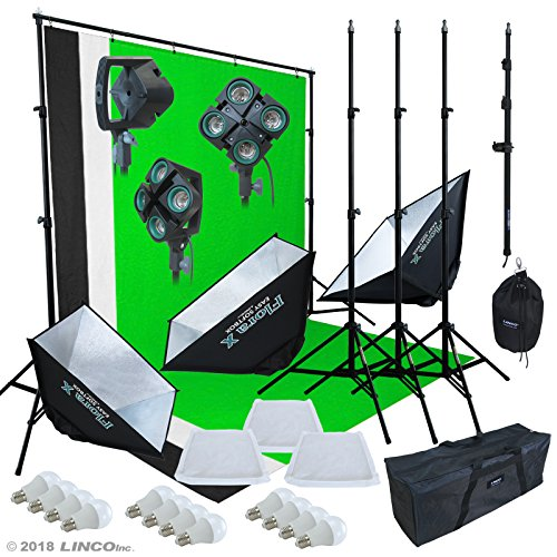 LINCO Lincostore 9600 Lumens Studio Photography Lighting kit with Auto pop-up Softbox AM247 by Linco (Image #1)