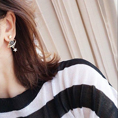 MUZHE Sapphire Blue Earth and Moon Planet Earring (asymmetrical earrings) by MUZHE (Image #2)