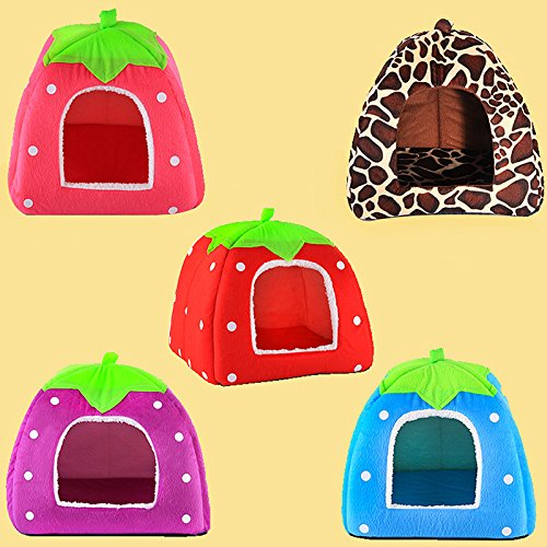 Amazon.com: SWEETLOVER Soft Strawberry Pet Igloo Dog Cat Bed House Kennel Doggy Fashion Cushion Basket: Pet Supplies