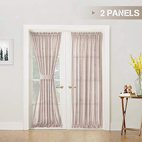 (Linen Textured French Door Curtains Solid 2 Panels French Door Panels with 2 Bonus Tiebacks Sheers Door Window Curtain Set 72 inch Length, Taupe)
