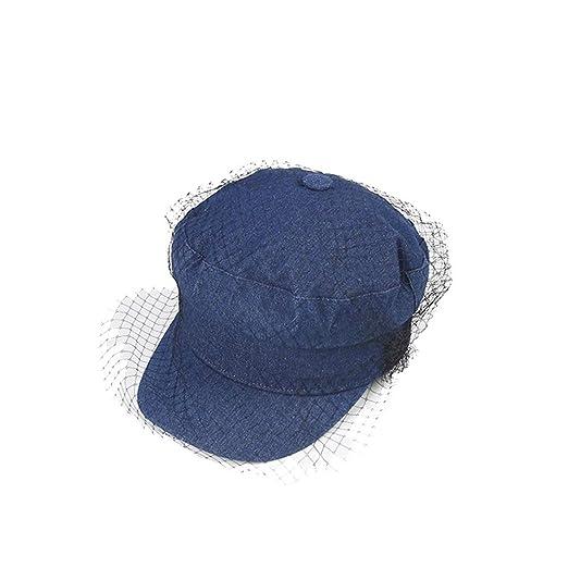 Fuudear Sombrero azul marino Sombrero de mezclilla Malla inglesa ...