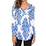 Goddessvan Clearance Sales Women's Printed Long Sleeve Henley Pleated Tops Casual Flare Tunic Blouse Shirt (M, Blue)