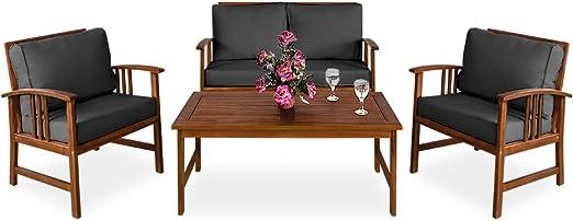 Deuba | Salon de Jardin Atlas • en Bois d\'Acacia • Coussins Anthracite |  Ensemble Table et Chaise de Jardin, mobilier, terrasse