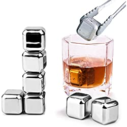 Whiskey Stones - Set of 8 with Tongs, Plastic Storage Box , Reusable Stainless Steel Ice Cubes for Wine , Beer - Whiskey Chilling Rocks Mokadii
