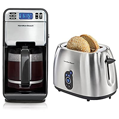 Hamilton Beach 12Cup Digital Automatic LCD Coffeemaker + 2-Slice Digital Toaster