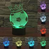 3D Cute Crown Football Soccer Night Light 7 Color Change LED Table Desk Lamp Acrylic Flat ABS Base USB Charger Home Decoration Toy Brithday Xmas Kid Children Gift