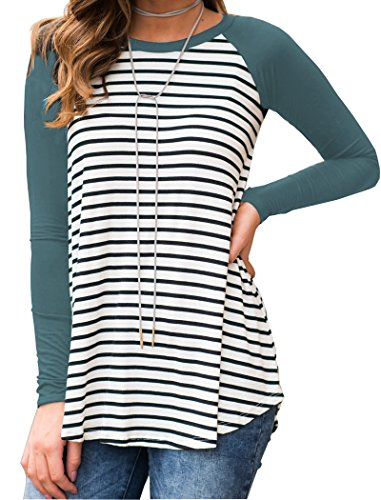 Halife Women's Long Sleeve Basic T-Shirt Striped Shirts Tunic Top Blouse,A-blue Green,X-Large (Green Striped T-shirt)