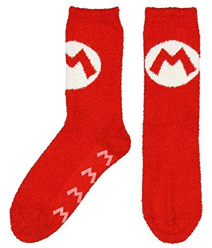Nintendo Super Mario Cozy Mario Logo Adult Crew Socks, Red, Sock Size - Mario Socks