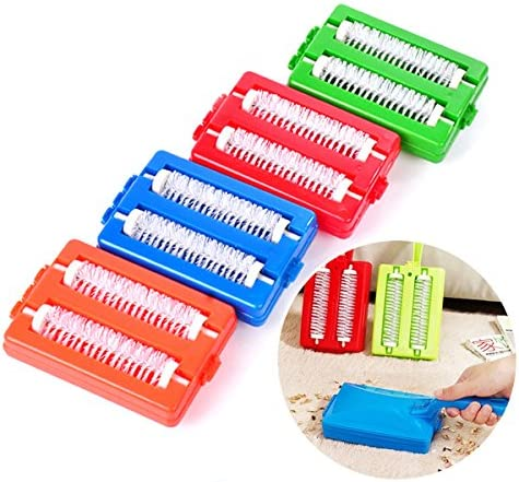 Kicode 2 Brushes Manual Handheld Table Crumb Cleaner Carpet Sweepers Roller Brush Collector for Cleaning Tables