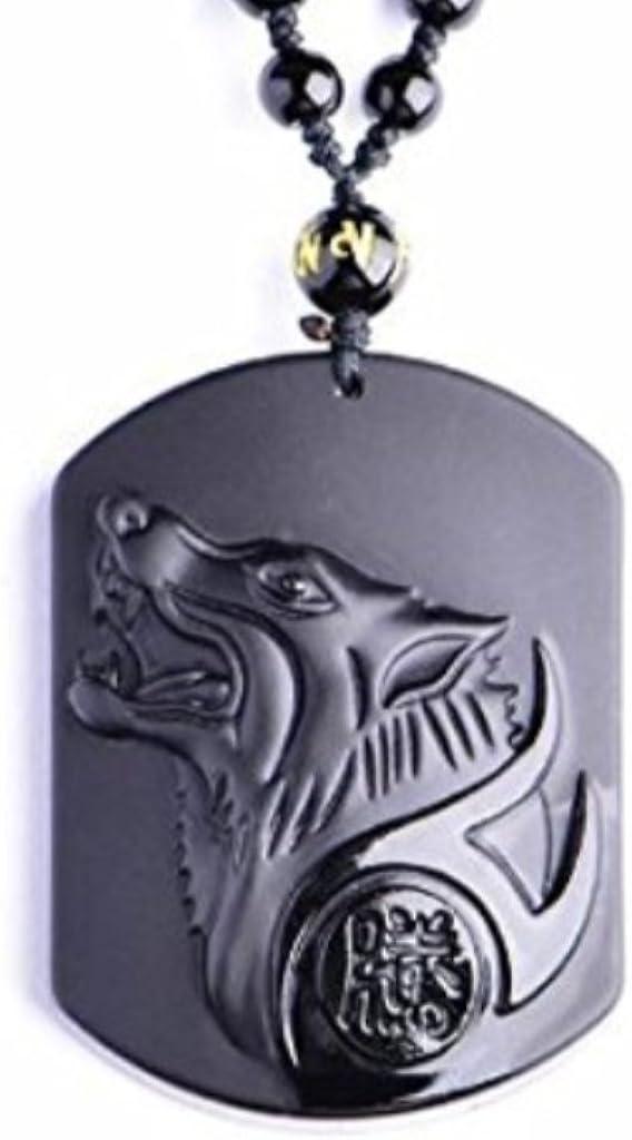Collar «lobo» en obsidiana negra (vidrio de dragón) Game of Throne.