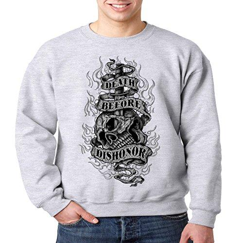 Patriotic Crewneck Sweatshirt Death Before Dishonor Mens S-3XL (Heather Gray, 3XL)