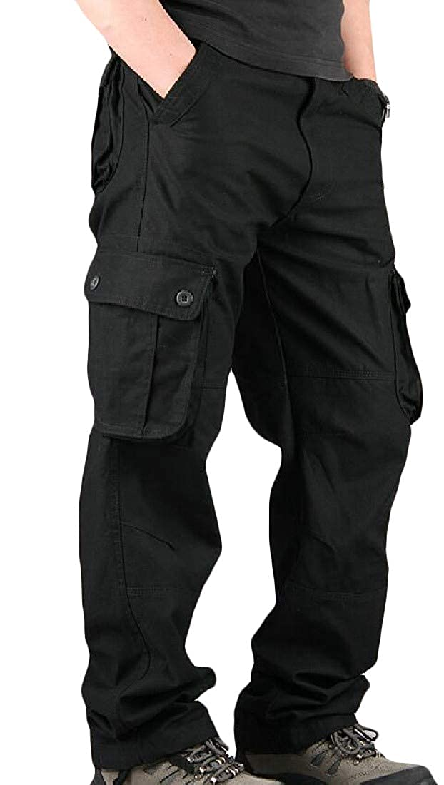 Sweatwater Mens Casual Straight Military Multi Pockets Outdoor Rugged Cargo Pants