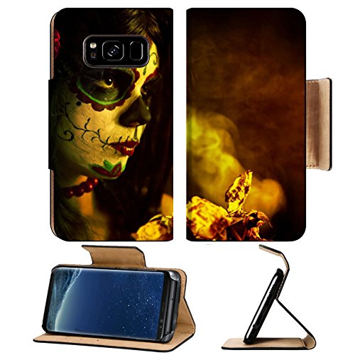 Antioxidant Shot (MSD Premium Samsung Galaxy S8 Flip Pu Leather Wallet Case IMAGE ID: 10546187 Artistic shot of sugar skull girl with dead roses selective focus on rose)