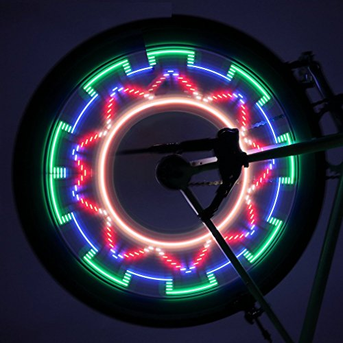 ICOCO Bicycle Rim Lights Auto Open and Close Ultra Bright LED Waterproof 32 LED Bike Wheel Light, Bike Spoke Light, Light String for MTB Wheel Tire