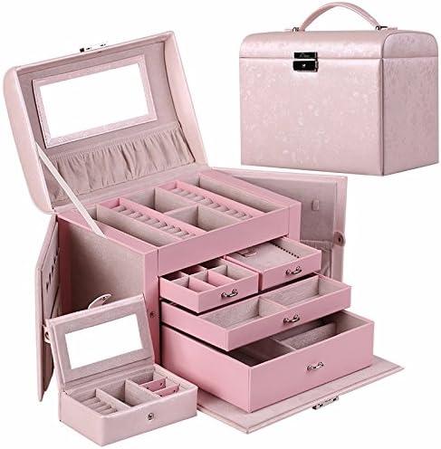 lzzfw Caja de regalo de Navidad Caja de regalo de cuero de madera de múltiples capas Anillo de princesa de alta calidad Pendientes Collar Caja decorativa Caja de almacenamiento de cosméticos, C: