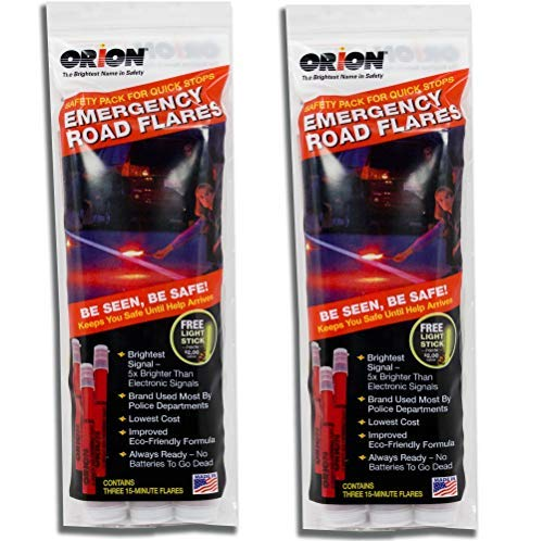 Orion Safety Products - 15 Minute Road Flares with Free Neon Light Stick (1 Pack of 3 Flares) - 2 Pack