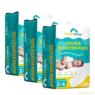 Diaper Liners - (90 Pack) - Diaper Booster Pads Disposable Doubler Pad Cloth Diaper Inserts to Add Absorption and Prevent Leaks - Overnight Diapers Alternative - Adhesive Strip - Hypoallergenic