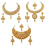 Reeva Gold Plated Combo Of 3 Necklace Earring Set For Women