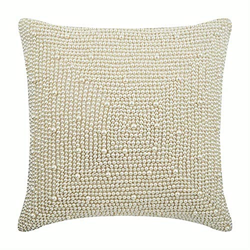The HomeCentric Decorative Pillow Covers 14 x 14 inch Ivory, Silk Throw Pillow Covers, Handmade Pillow Covers - Pearl World