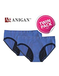 Anigan StainFree 2 Pack Seamless Hipster Menstrual Period Panty - Blue - Medium