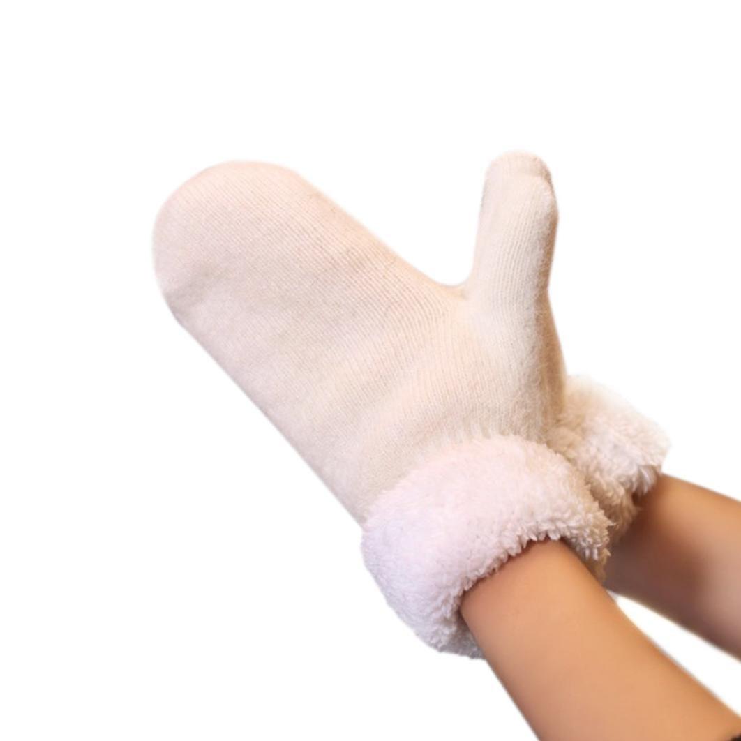 Soft Cotton Mittens,Hemlock Women's Pure Color Mittens Thick Winter Warm Gloves (White)