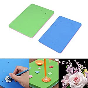 2 Pcs Fondant Foam Pad 5 Holes Silicone Sponge Mat Paste/Sugar Flower/Gum/Chocolate/Clay Modelling Tools Drying Tray by EORTA for Sugarcraft, Cake Decoration, Handmade, DIY, Random Color