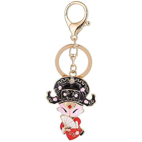LIGHTBLUE Lindo llavero de muñeca Peking Opera llavero ...