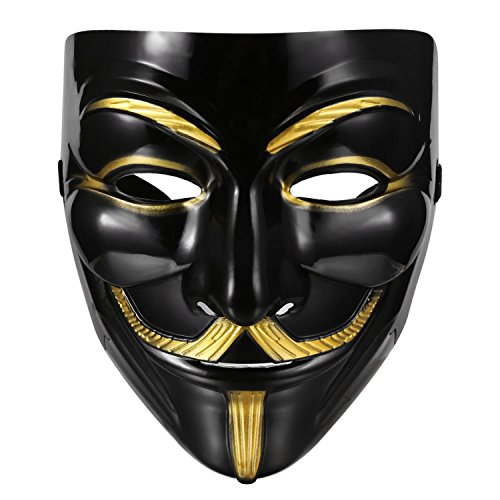 Masquerade Mask For Guys (Kaluo Anonymous Face Mask Guy Fawkes Mask Perfect Fit Cosplay V for Vendetta DC Comics)