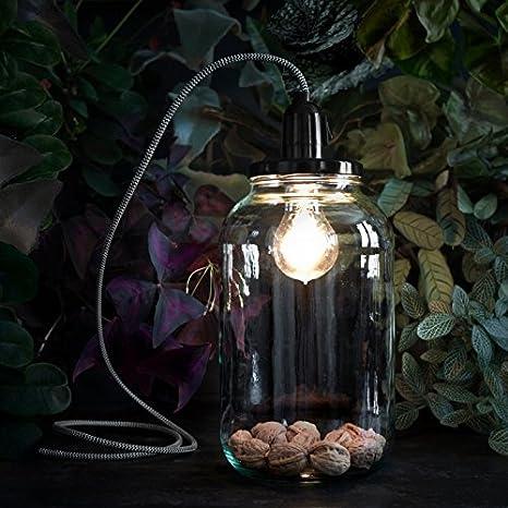 Lámpara tarro 4.0 - Lámpara de inspección cable blanco y negro H27 ...