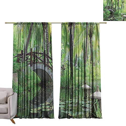 berrly Window Curtain Drape Zen Garden,Green Landscape in South China Palm Trees and Bushes Lush Growth Nature, Green Grey Brown W84 x L84 Room Darkening Wide Curtains