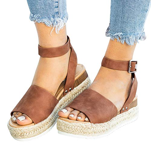 Athlefit Women's Platform Sandals Espadrille Wedge Ankle Strap Studded Open Toe Sandals Size 8.5 Brown ()